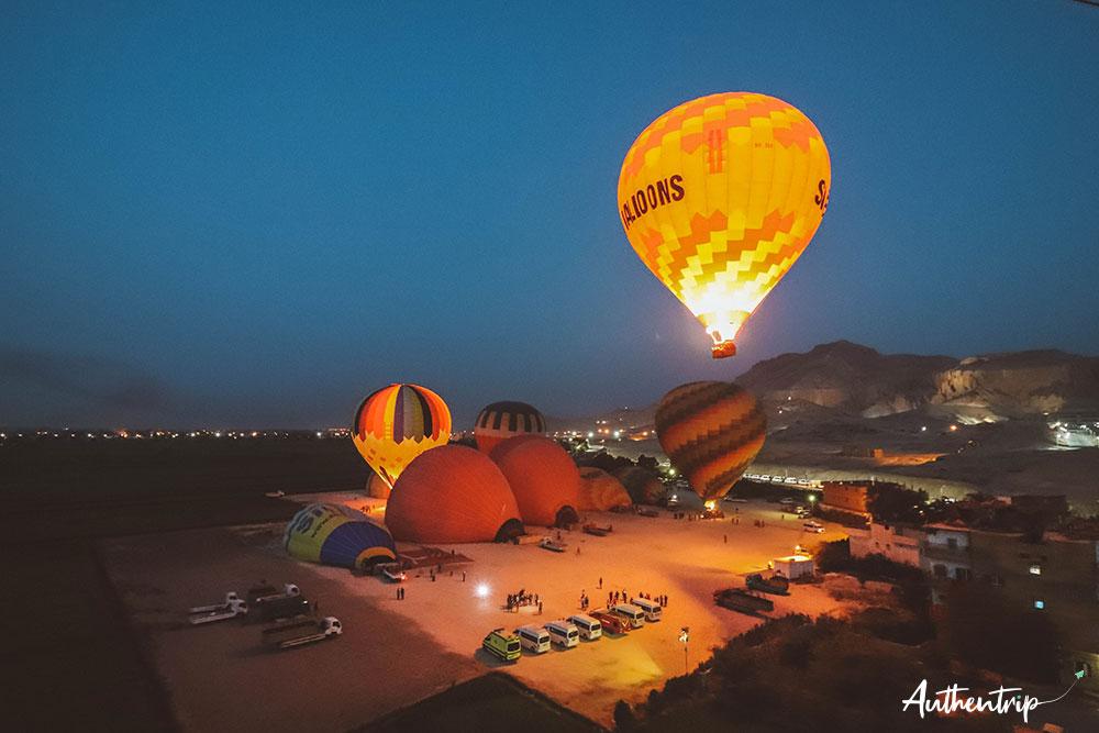 balade en montgolfiere decollage