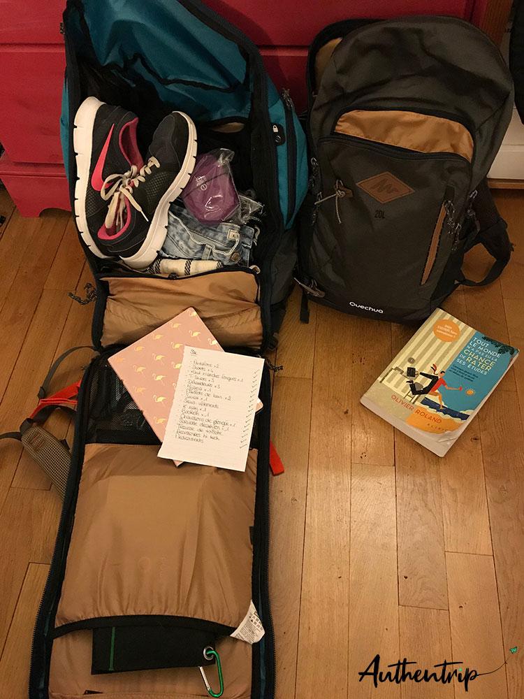 sac préparatifs Australie