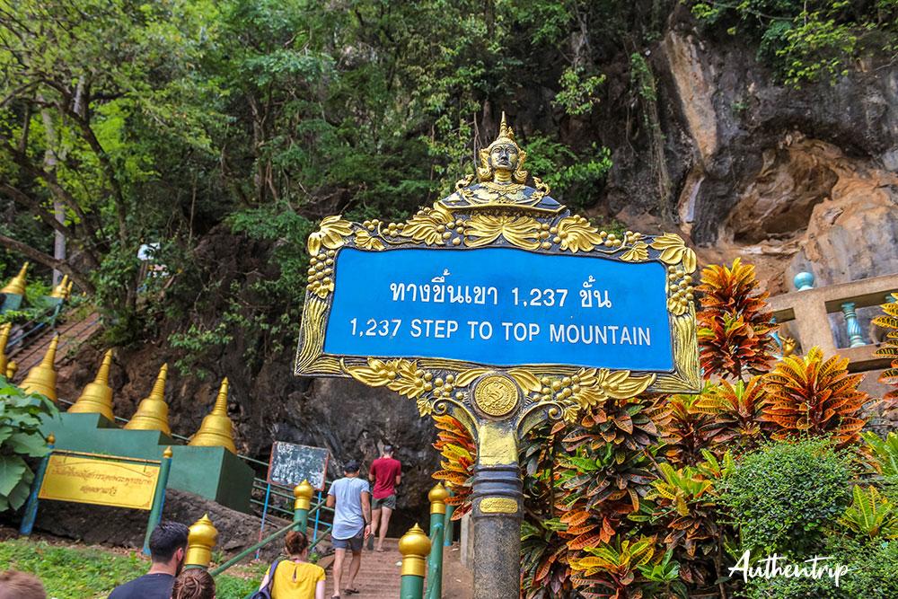 krabi tiger cave temple panneau marches