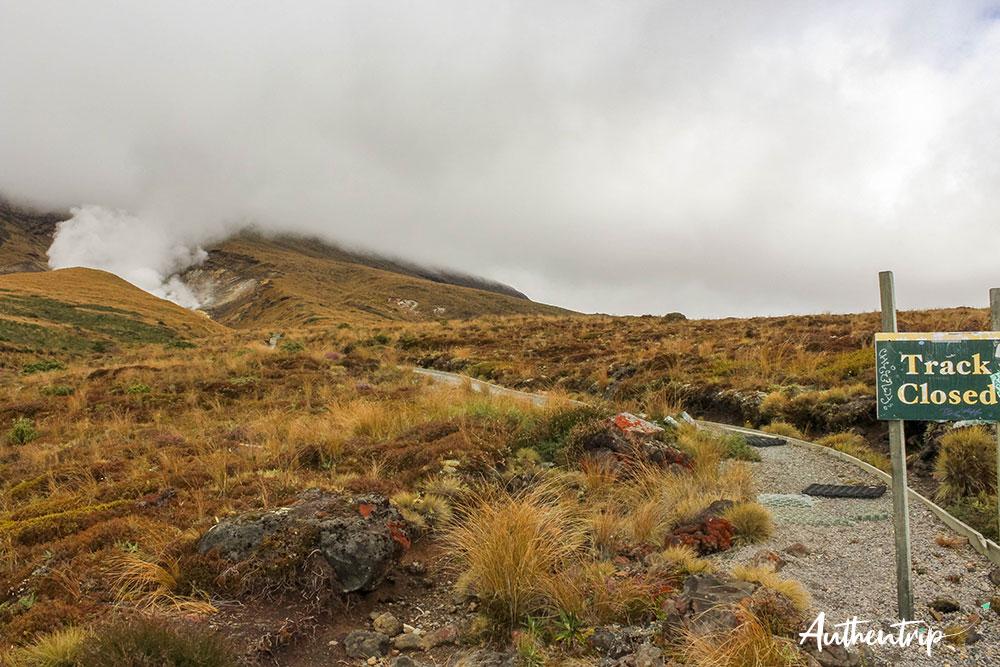 tongariro alpine crossing voie fermée descente