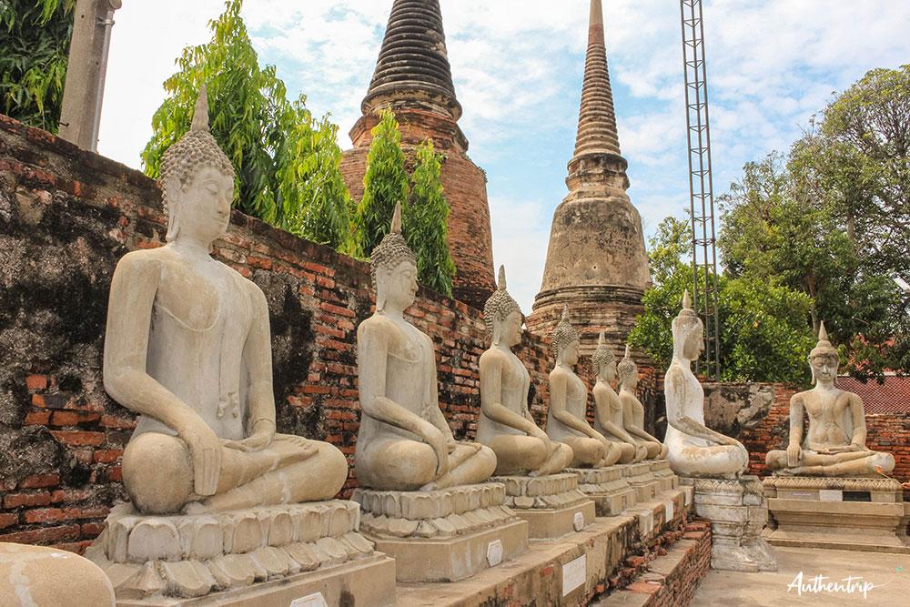 Ayutthaya Wat Yai Chai Mongkhon statues