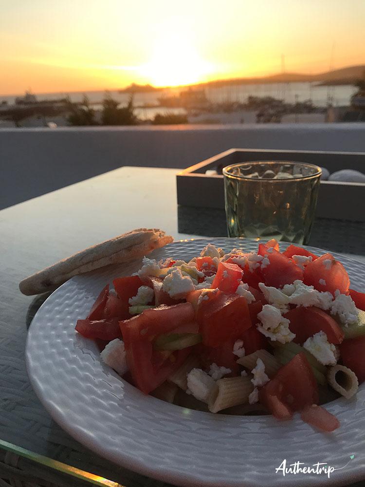 Parikia sunset food