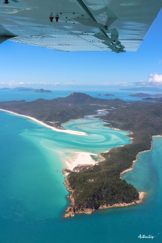 survol whitehaven beach australie